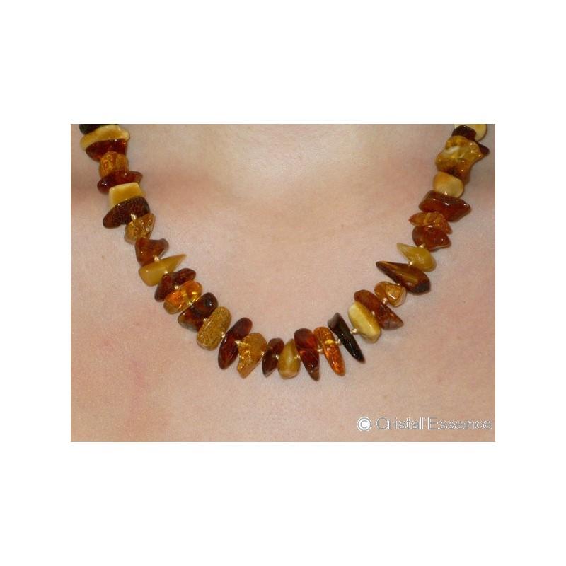 Ambre, collier baroque, 3 couleurs