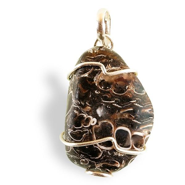 Agate à fossiles roulée, pendentif argent