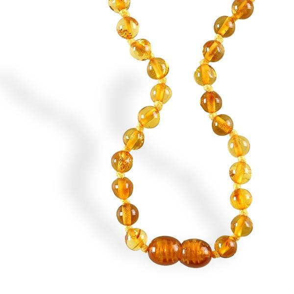 Ambre, collier bébé, petites perles cognac
