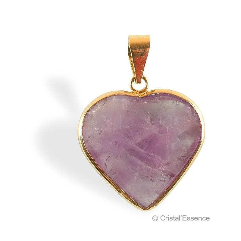Améthyste, pendentif cœur plaqué or