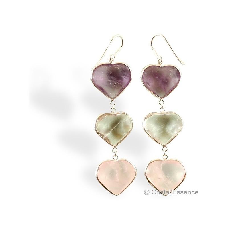 Améthyste, Cristal de roche et Quartz rose, boucles d'oreilles argent