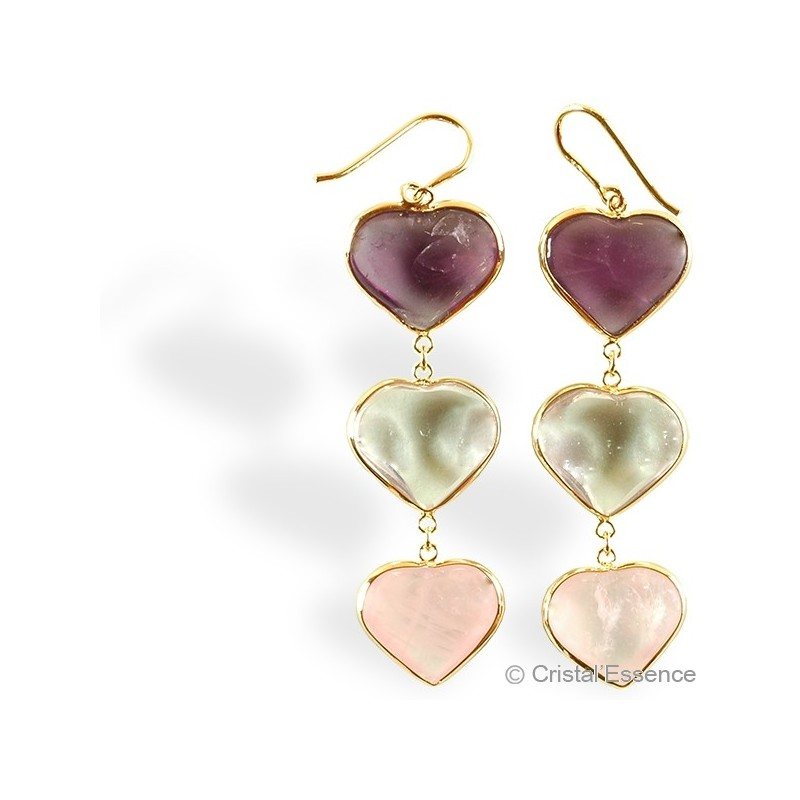 Améthyste, Cristal de roche et Quartz rose, boucles d'oreilles plaqué or