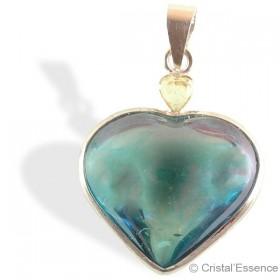 Aqua Aura, pendentif cœur argent, avec citrine