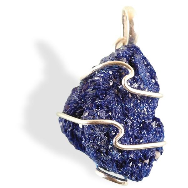 Azurite, rosette, cristallisée, pendentif