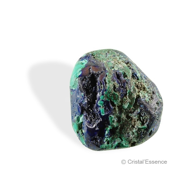 Azurite-malachite, roulée (Chine)
