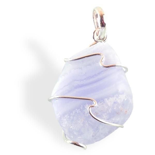 Calcédoine bleue veinée, pendentif argent