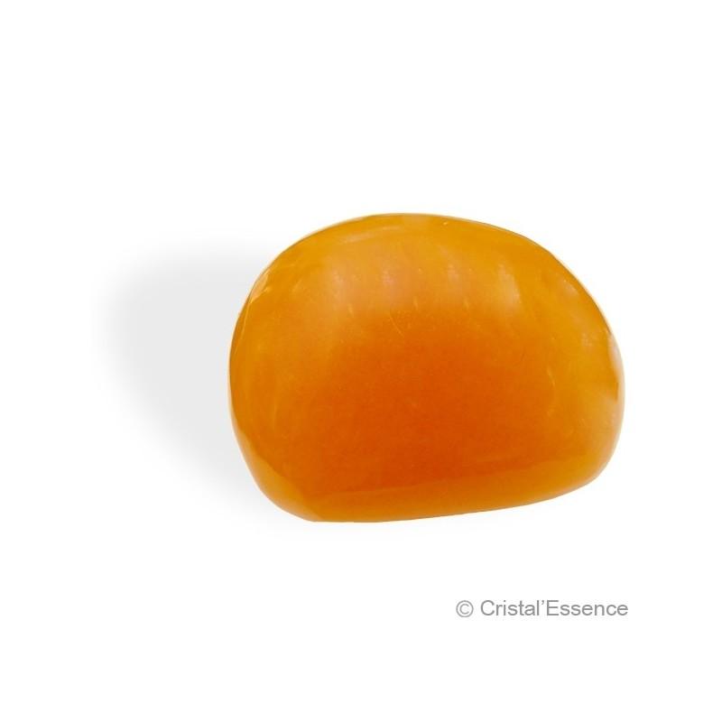 Calcite orange, petit bloc poli
