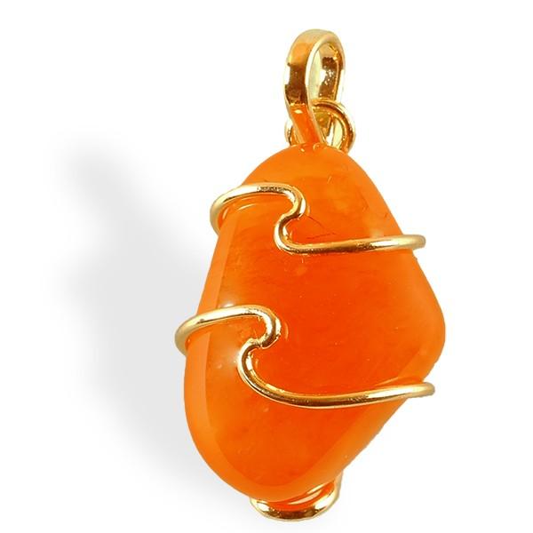 Cornaline roulée, pendentif plaqué or