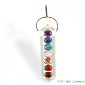 Cristal de roche, pendentif cabochon Chakras