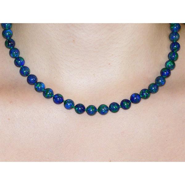Azurite-malachite, collier fermoir argent