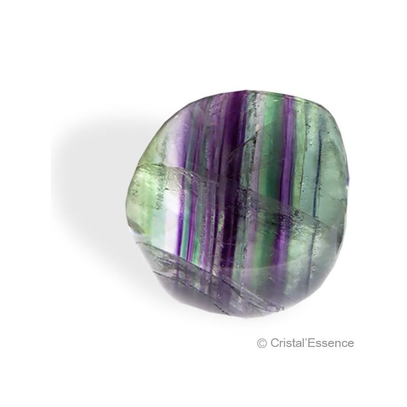 Fluorite multicolore, galet plat