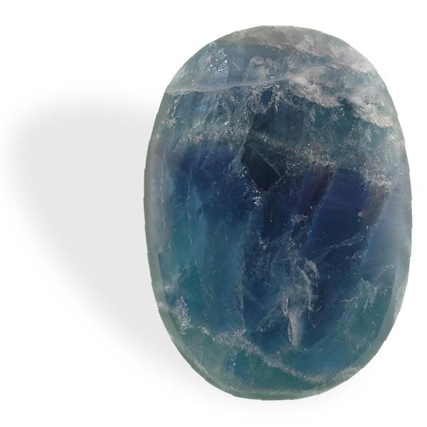 Fluorite bleue, petit et grand galet