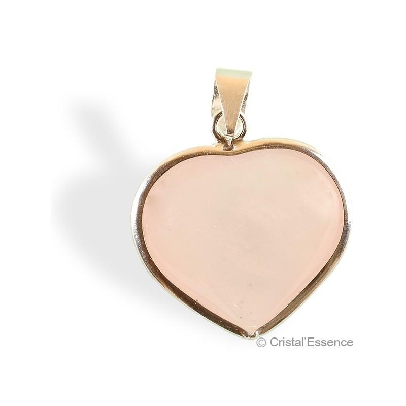 Quartz rose, pendentif  cœur plaqué or