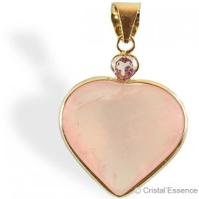 Quartz rose + Améthyste, pendentif cœur, plaqué or