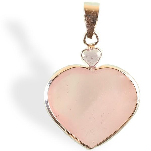 Quartz rose + Améthyste, pendentif  cœur, argent