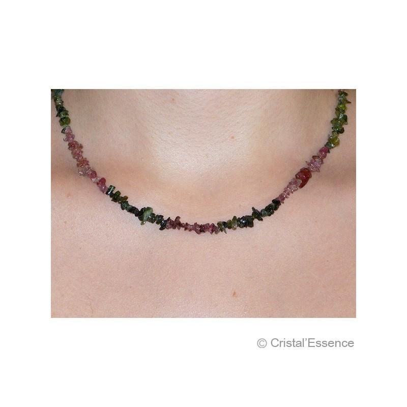Tourmaline verte et rose, collier baroque