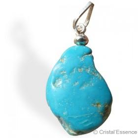 Turquoise naturelle roulée, pendentif