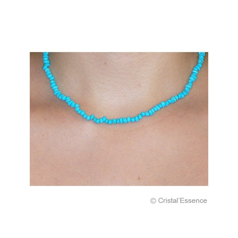 Turquoise stabilisée, collier fin