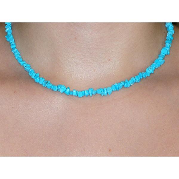 Turquoise naturelle, collier baroque
