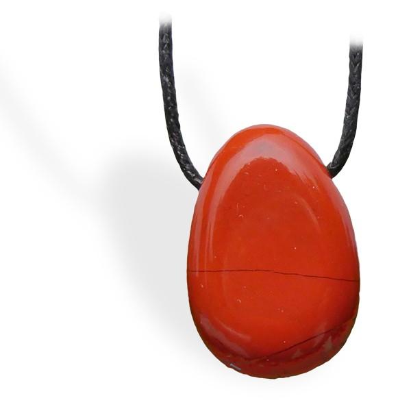 Jaspe rouge roulé, pendentif percé