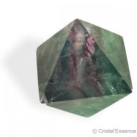 Fluorite multicolore taillée, octaédre