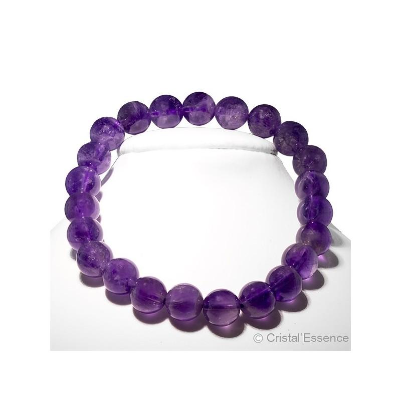Améthyste, bracelet perles 8 ou 6 mm