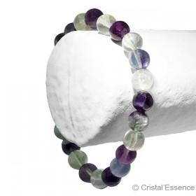 Fluorite multicolore, bracelet perles 8 ou 6 mm