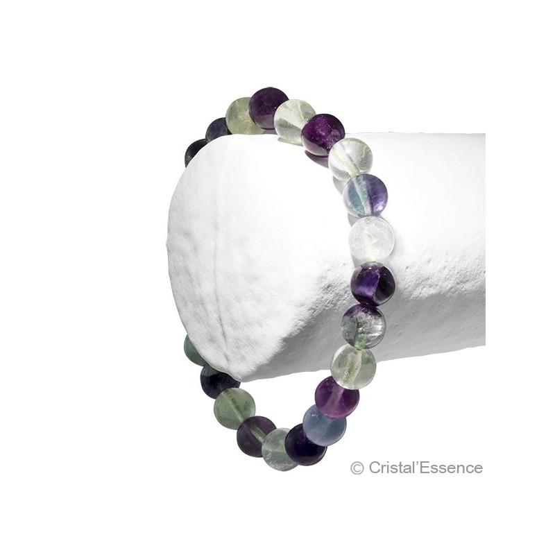 Fluorite multicolore, bracelet 2 perles 8 ou 6 mm