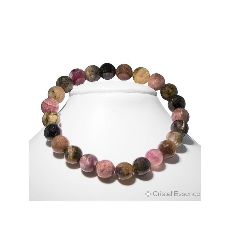 Tourmaline verte et rose, bracelet perles de 6mm ou 8 mm