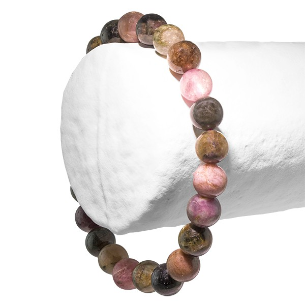 Tourmaline verte et rose, bracelet 2 perles de 6mm ou 8 mm