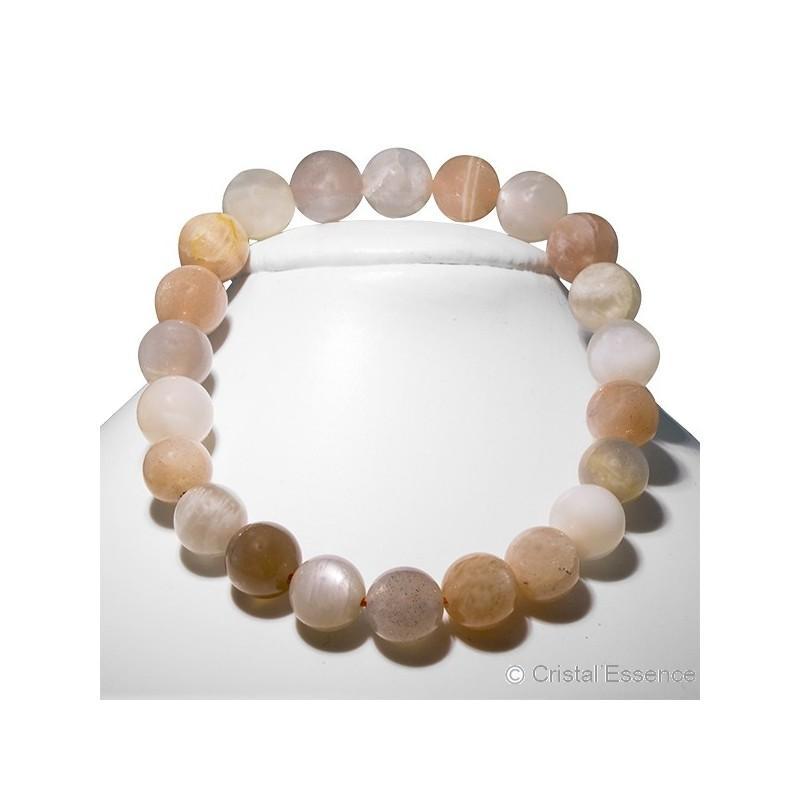 Pierre de Lune roulée, bracelet perles 8 mm ou 6mm