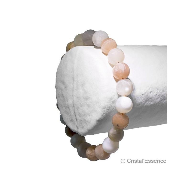 Pierre de Lune roulée, bracelet 2 perles 8 mm ou 6mm