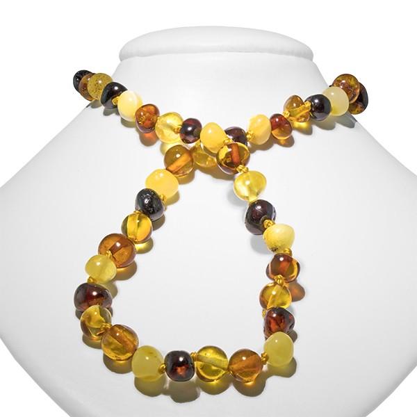 Ambre, collier bébé, poli 3 couleurs