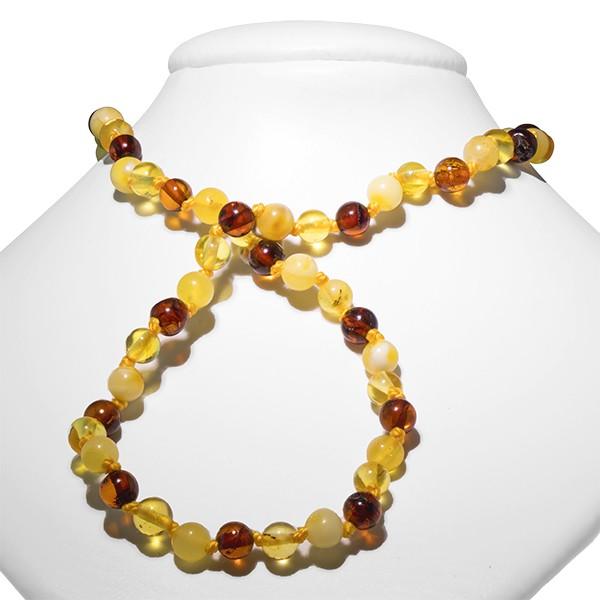 Ambre, collier bébé, petites perles 3 couleurs