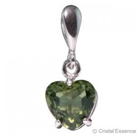 Moldavite taillée cœur, petit pendentif argent