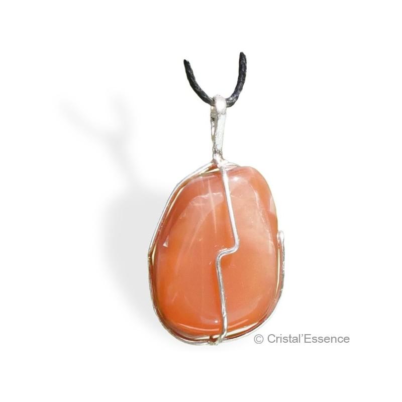Pierre de Lune orangée roulée, pendentif argent