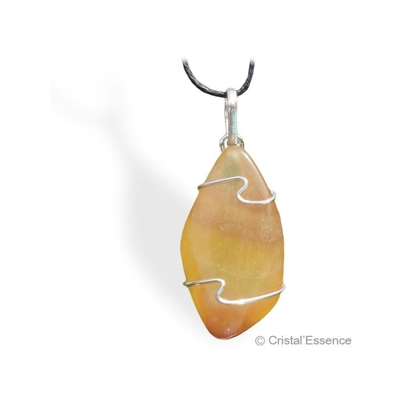 Fluorite jaune roulée, pendentif argent