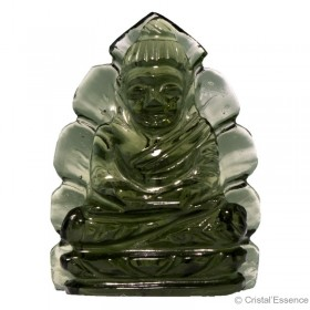 Moldavite taillée en forme de Bouddha, 3,9 g