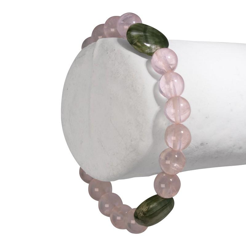 """Bracelet """"Lâcher-prise"""", Quartz rose et Séraphinite 2"""