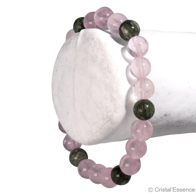 """Bracelet """"Lâcher-prise"""", Quartz rose et Séraphinite 3"""