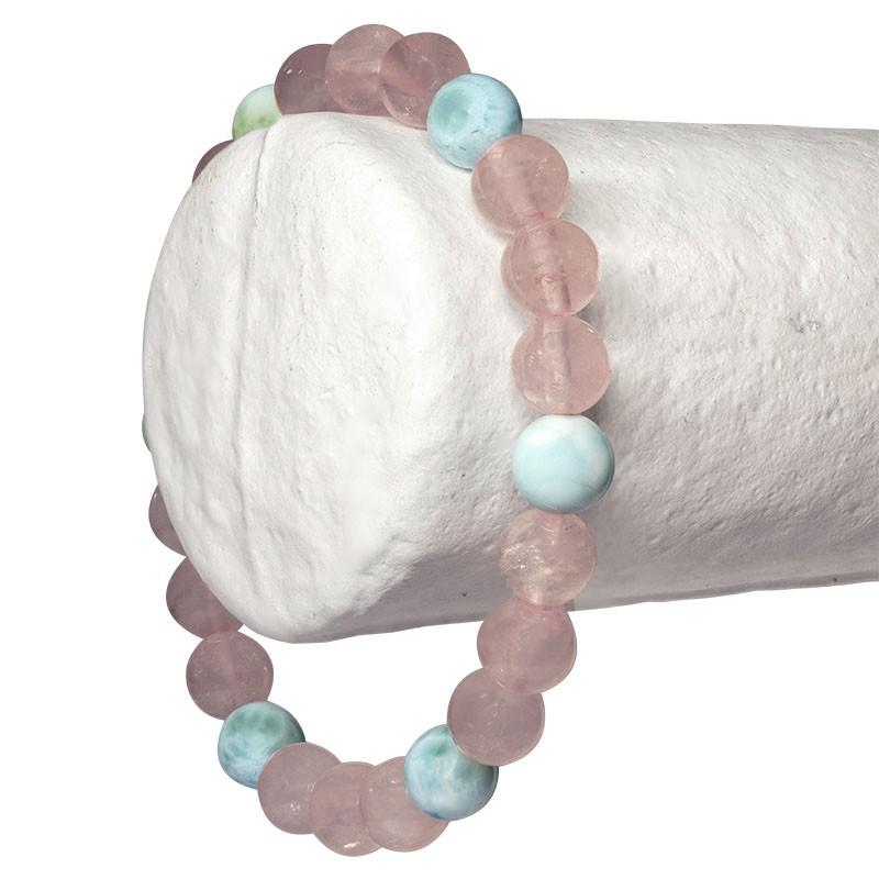 """Bracelet """"Paix intérieure""""  Quartz rose et Larimar, perles 8 mm ou 6mm"""