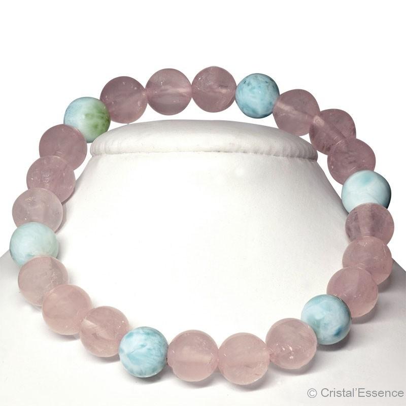 """Bracelet """"Paix intérieure""""  Quartz rose et Larimar 2, perles 8 mm ou 6mm"""