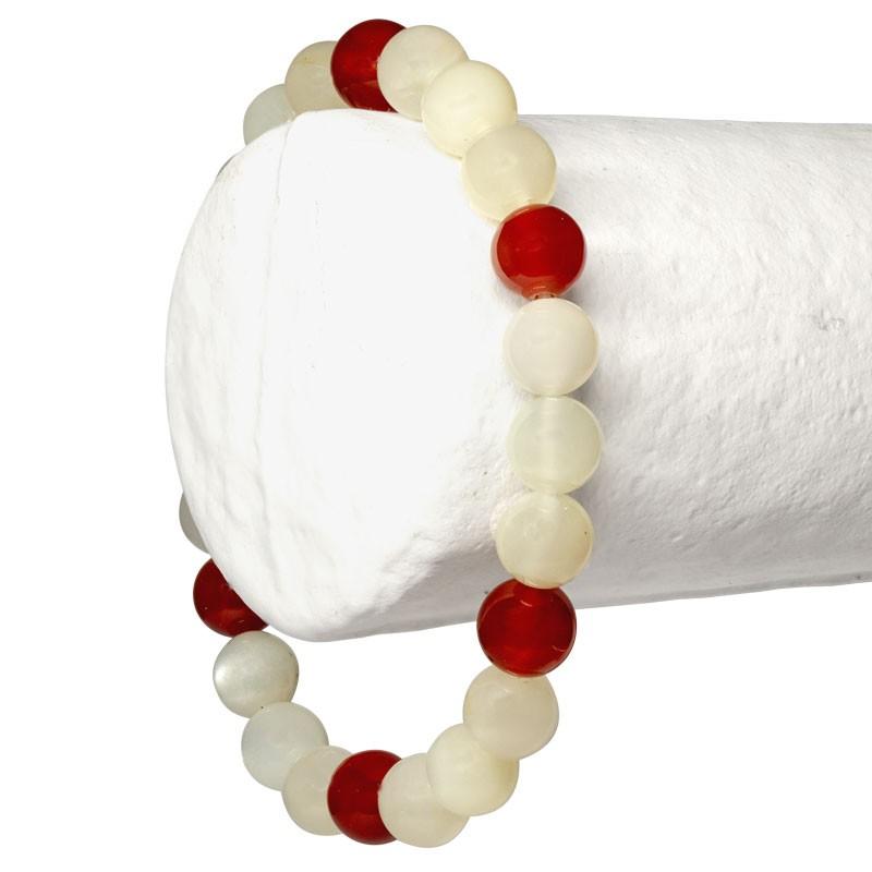 """Bracelet """"Féminité"""" Pierre de Lune et Cornaline, perles 8 mm ou 6mm"""