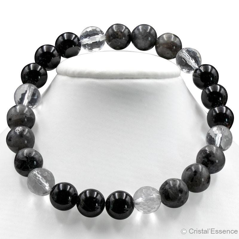 """""""Protection"""" Tourmaline noire, Labrador et Cristal de roche, perles 8 mm ou 6mm"""