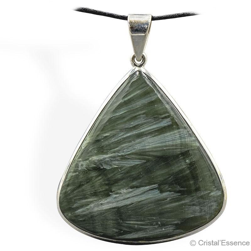 Séraphinite, grand pendentif triangle, argent