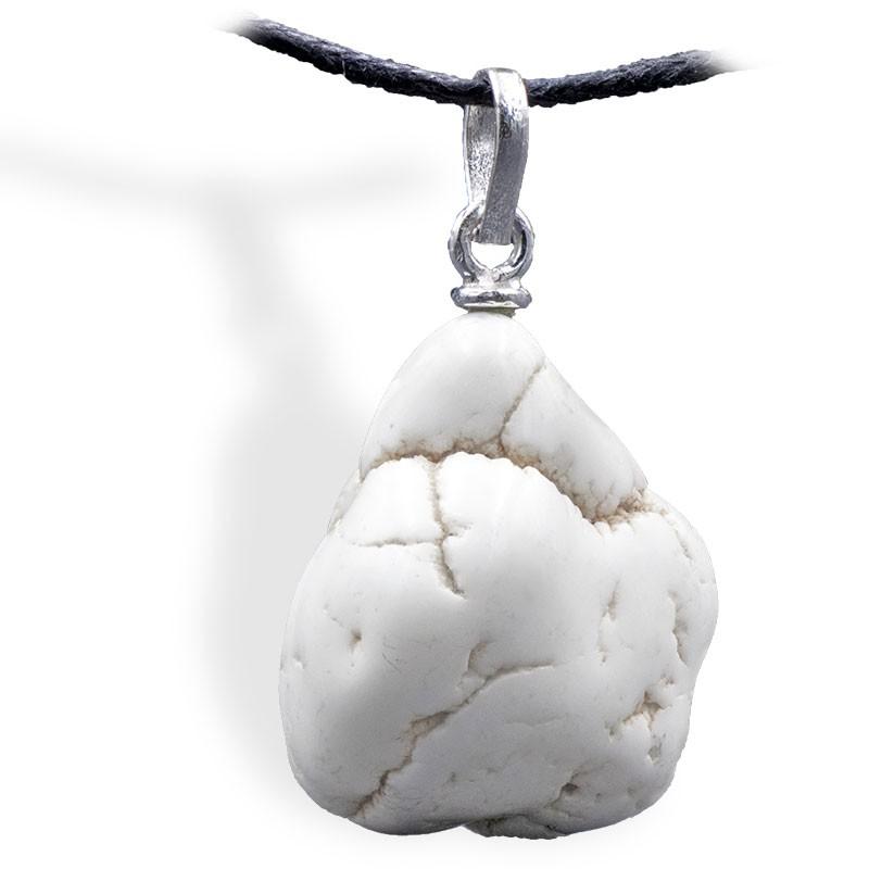 Magnésite, roulée, pendentif attache argent