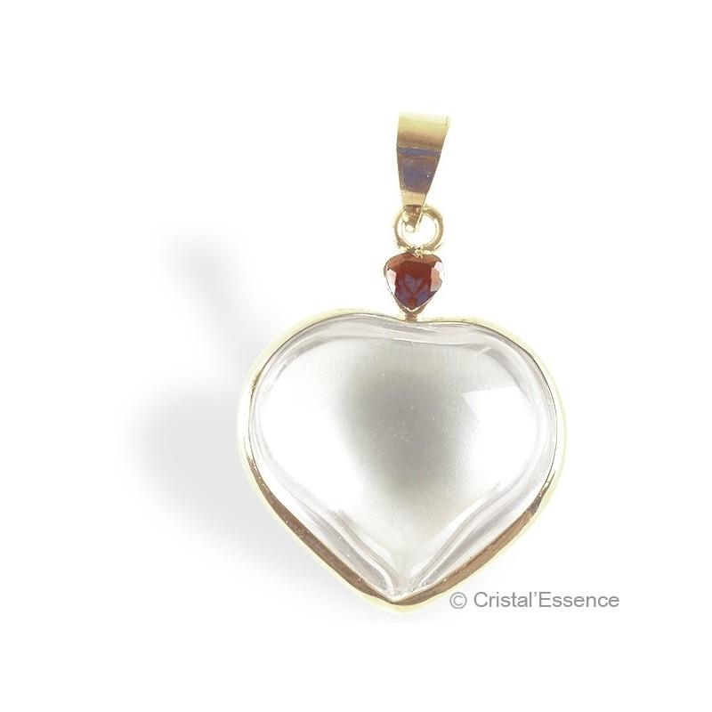 Cristal de roche, pendentif cœur