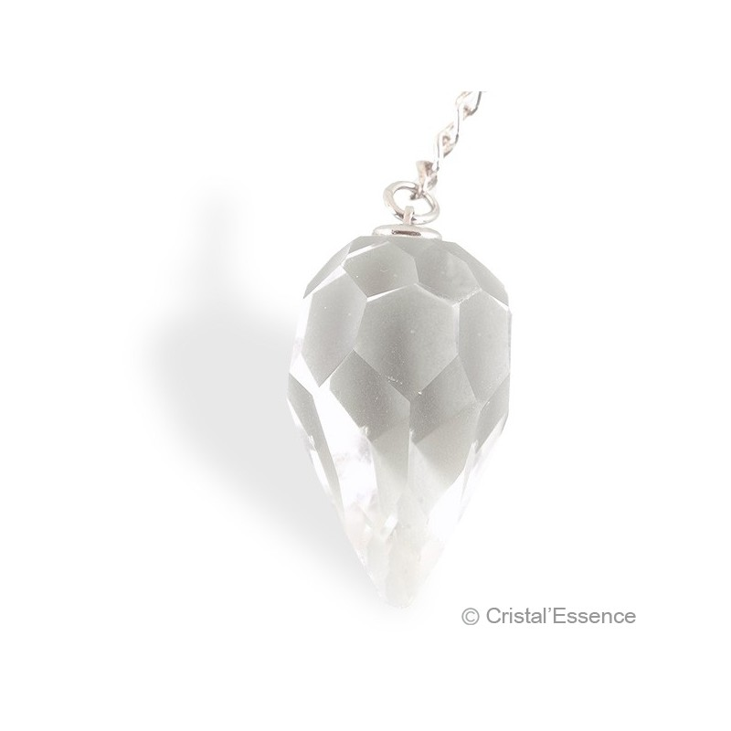 Cristal de roche, pendule facetté