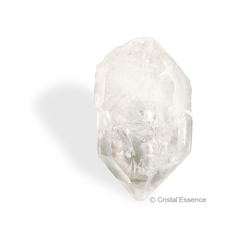 Cristal de roche du Tibet, cristal biterminé ambré