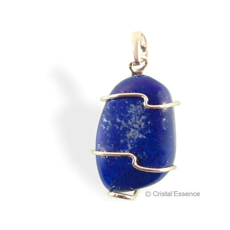 Lapis-Lazuli roulé, pendentif argent